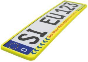KFZ Kennzeichenhalter Neongelb - BEI STAU RETTUNGSGESSE BILDEN -