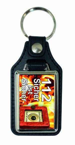 """Lederschlüsselanhänger """"122 sicher ist sicher"""""""