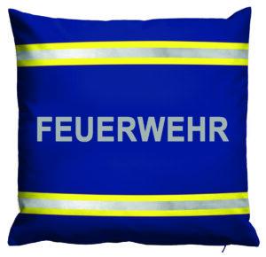 Kissen Feuerwehr im Einsatzlook (blau mit reflektierenden Streifen)
