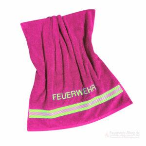 Badetuch Feuerwehr pink mit Reflexbestreifung 140 x70 cm
