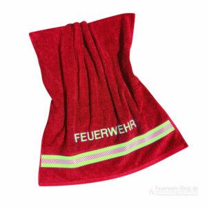 Badetuch Feuerwehr rot mit Reflexbestreifung 140 x70 cm